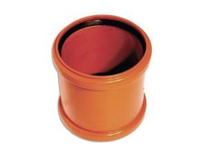 Муфта ПВХ рыжая ремонтная канализационная, соединительная, надвижная, для наружной канализации