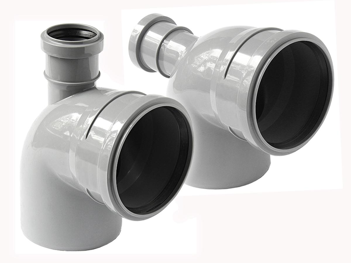 Отвод 110 90 с выходом на 50 канализационный колено из полипропилена