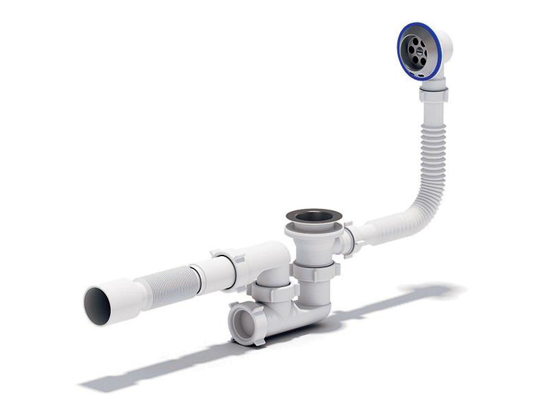 Сифон регулируемый с выпуском и переливом Ани E255 для подключения ванны.