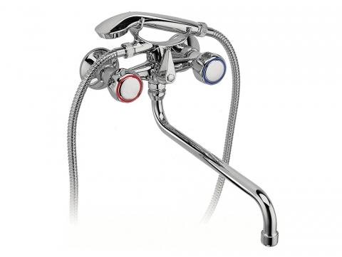 Смеситель для ванны и раковины и умывальника со шлангом и душем с длинным изливом BST11A Standard FERRO фото, купить в Миснке