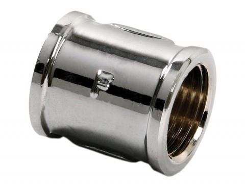 Муфта латунная хромированная для соединения двух веток трубопровода.