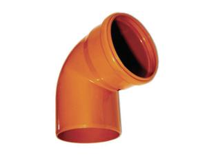 Отвод ПВХ 67° градусов для наружной канализацииОтвод ПВХ 67° градусов канализационный, для наружной канализации