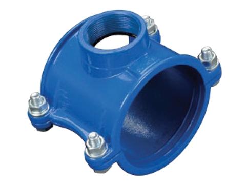 Седло хомут врезка в водопровод для ПВХ, ПЭ труб внутренняя резьба