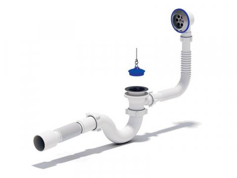 Сифон для ванны с выпуском и переливом Ани E155 для подключения ванны