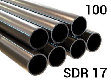 Полиэтиленовая труба ПЭ 100, PN10, SDR17 напорная для наружного холодного водопровода для воды под давлением 10 атм.