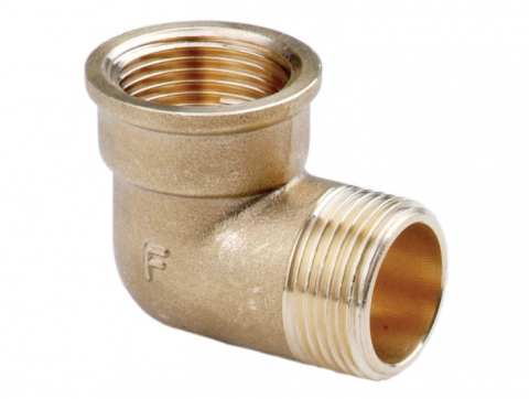 Угольник латунный внутренняя/наружная резьба для изменения направления трубопровода.