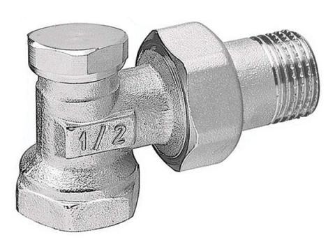 Вентиль радиаторный (кран запорный) угловой для обратной подводки
