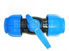 Кран ПЭ компрессионный шаровый полиэтиленовый ПНД