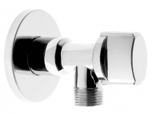 Кран шаровый угловой с отражателем и маховичком для подключения сантехпосуды и смесителей