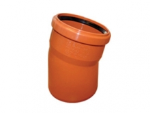 Отвод ПВХ 15° градусов канализационный, для наружной канализации