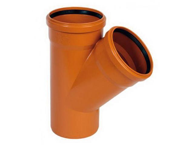 Тройник ПВХ 45° градусов, рыжий канализационный, для наружной канализации