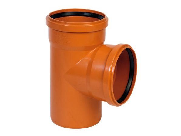 Тройник ПВХ 87° градусов, рыжий канализационный, для наружной канализации
