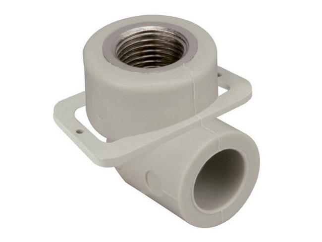 Угольник отвод 90° градусов настенный для гипсокартона с внутренней резьбой полипропиленовый ПП для воды водоснабжения отопления фитинг из полипропилена
