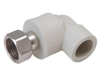 Угольник отвод 90° градусов с перекидной (накидной) гайкой полипропиленовый ПП для внутреннего водоснабжения для изменения направления трубопровода и перехода на резьбовое соединение.