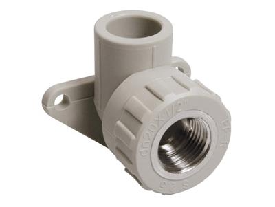 Угольник отвод 90° градусов с внутренней резьбой и креплением полипропиленовый ПП для воды водоснабжения отопления фитинг из полипропилена