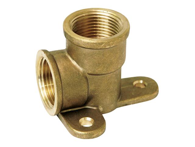 Угольник 90° отвод резьбовой латунный с креплением внутренняя/внутренняя резьба для изменения направления трубопровода и крепления к стене.