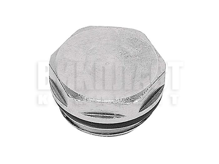 """Заглушка хромированная из латуни для радиатора 1/2"""" с полукруглой прокладкой"""