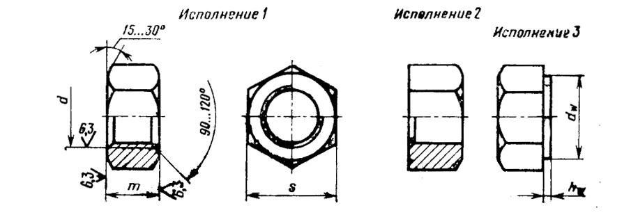 Гайка черная шестигранная ГОСТ 5927-70, 5915-70  DIN 934