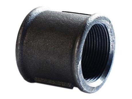 Муфта чугунная прямая черная PN16 для соединения двух трубопроводов в одну систему для водогазопроводных труб в отоплении, водоснабжении и газопроводе.