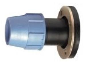 Муфта-фланец (муфта с фланцем) полиэтиленовая ПЭ компрессионная из полиэтилена для наружного водопровода для фланцевым соединением