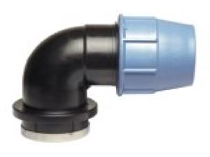 Отвод колено полиэтиленовый 90° ПЭ с внутренней резьбой из полиэтилена GW компрессионный для водопровода для перехода на резьбовое соединение.