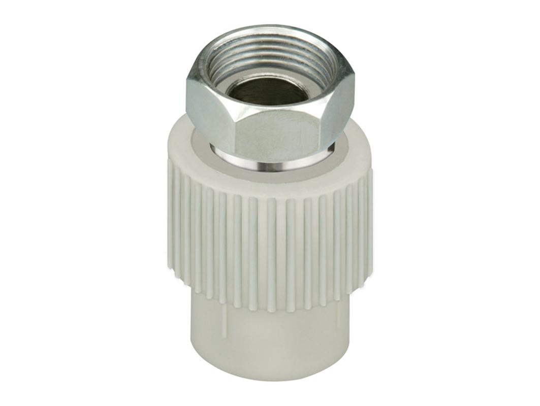 Переход с металлической вставкой и перекидной гайкой полипропиленовый для воды водоснабжения отопления фитинг из полипропилена