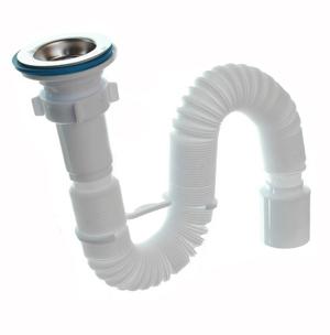 Гофросифон гофротруба гибкая труба гофрированная белая на кухню для умывальника полипропилен АниПласт для слива