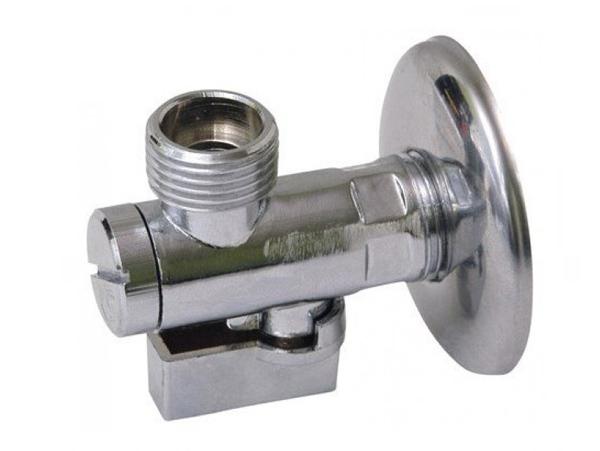 """Кран шаровый угловой с отражателем и маховичком Slovarm 1/2"""" - TE-66FS (код 400214) для подключения сантехпосуды."""