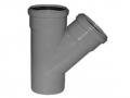Пластиковый тройник для канализации 45° градусов полипропиленовый ПП канализационный фото