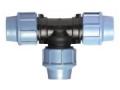 Тройник полиэтиленовый ПЭ-ПЭ-ПЭ компрессионный для наружного водопровода для подсоединения дополнительных веток трубопровода.