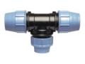 Тройник полиэтиленовый переходной ПЭ-ПЭ-ПЭ компрессионный для наружного водопровода для подсоединения дополнительных веток трубопровода.
