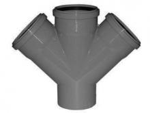 Крестовина полипропиленовая ПП 45° градусов канализационная для подсоединения дополнительных веток трубопровода.