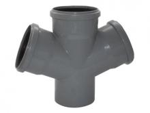 Крестовина полипропиленовая ПП 67° градусов канализационная для подсоединения дополнительных веток трубопровода.