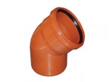 Отвод ПВХ 45° градусов канализационный, для наружной канализации