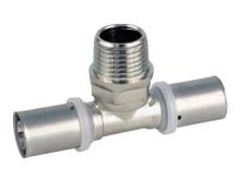 Тройник пресс наружная резьба для многослойных металлопластиковых труб