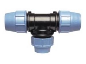 Тройник полиэтиленовый переходной ПЭ компрессионный для водопровода для перехода на другой диаметр дополнительной ветки трубопровода