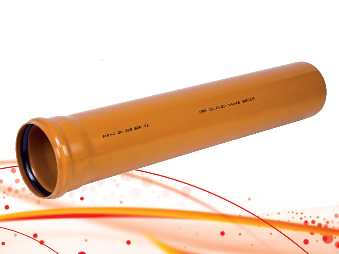 Канализационные трубы ПВХ SN4 рыжие для наружной канализации