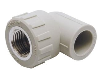 Угольник отвод 90° градусов с внутренней резьбой полипропиленовый для воды водоснабжения отопления фитинг из полипропилена.